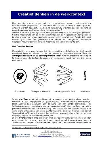 Creatief denken in de werkcontext - Mcr Bvba