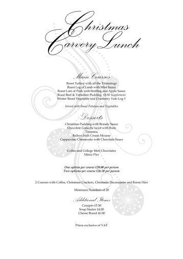 Trinity Hall 2013 Christmas Carvery Lunch menu 2