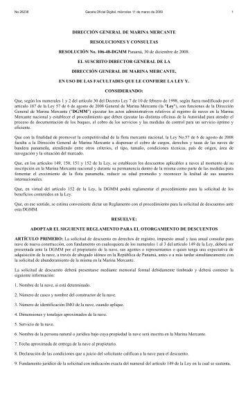 DIRECCIÓN GENERAL DE MARINA MERCANTE RESOLUCIONES ...