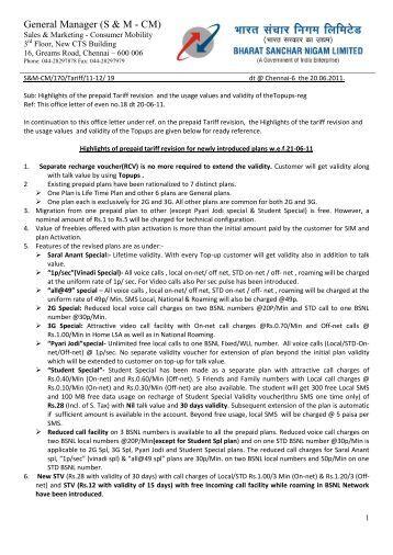 Highlights of prepaid tariff rev TNC 200611 - SNEA Tamilnadu
