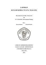 LAPORAN KULIAH KERJA NYATA/ MAGANG - Universitas Brawijaya