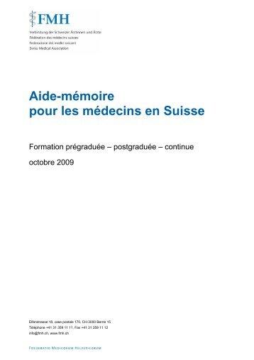 Aide-mémoire pour les médecins en Suisse