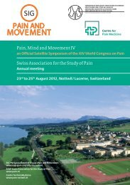 Pain, Mind and Movement IV Swiss Association for the Study of Pain
