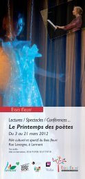 Lectures / Spectacles / Conférences ... Le Printemps des poètes Du ...