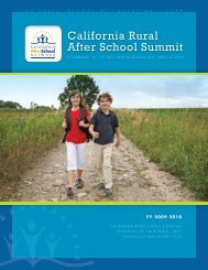 California Rural After School Summit - Statewide Afterschool Networks