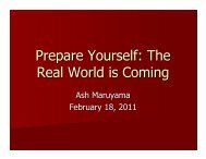 Prepare Yourself: The Real World is Coming