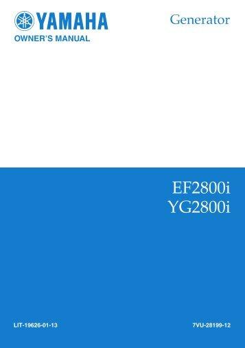 EF2800i, YG2800i Owner's Manual - Yamaha