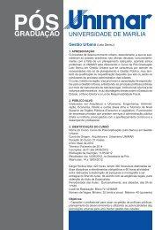 Gestão Urbana (Lato Sensu) - Unimar