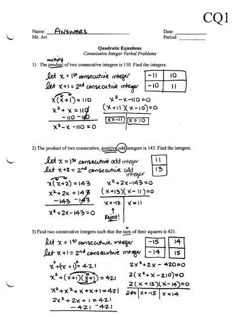 Quadratic Equations - Consecutive Integer Problems - Worksheet CQ1
