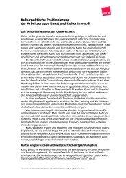 Kulturpolitische Positionen - Fachbereich Medien, Kunst und ...