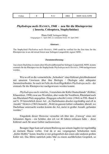 Phyllodrepa melis HANSEN, 1940 - neu für die Rheinprovinz - COLEO