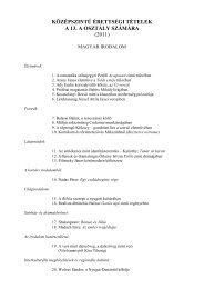 középszintű érettségi tételek a 13. a osztály számára (2011)
