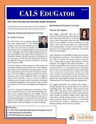 CALS EDUGATOR - College of Agricultural and Life Sciences