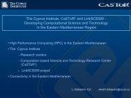 The Cyprus Institute, CSTRC and LinkSCEEM