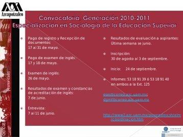 Convocatoria 2010. Especialización en Sociología de la Educación