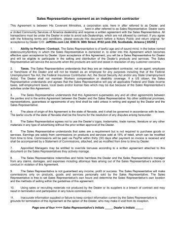 Export Sales Representative Agreement
