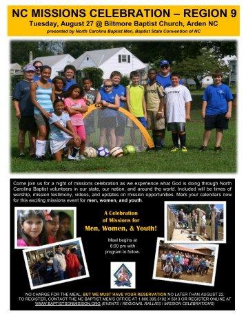 nc missions celebration – region 9 - Baptist Men and Women on ...
