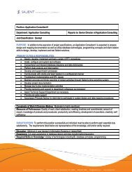 Position: Application Consultant II Department: Application ... - Salient