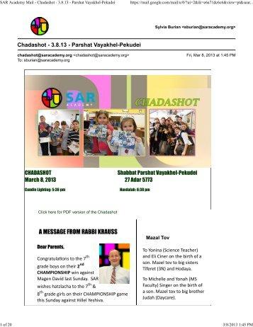 SAR Academy Mail - Chadashot - 3.8.13 - Parshat Vayakhel-Pekudei