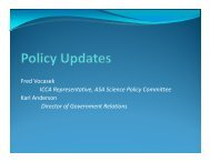 Fred Vocasek ICCA Representative, ASA Science Policy Committee ...