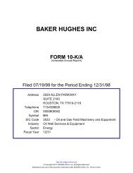 baker hughes inc form 10-k/a