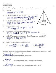 Honors Geometry Chapter 2 Review Given the following diagram ...