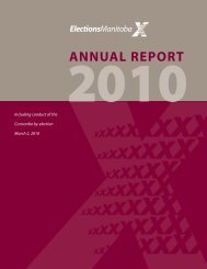 2010 Annual Report of the Chief Electoral Officer - Elections Manitoba