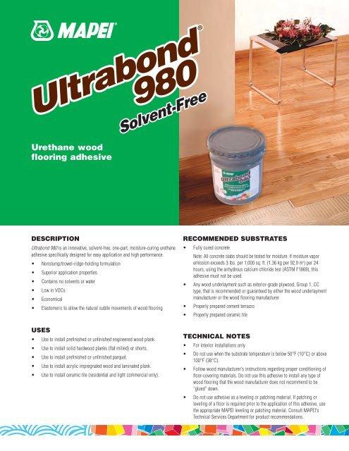 Mapei Ultrabond 980 Spec Sheet pdf - Cwf com