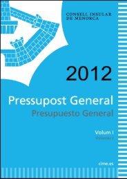 Pressupost 2012 vol. I - Consell Insular de Menorca