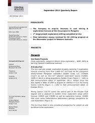 28 October 2011 Quarterly Activities Report ... - General Mining