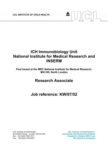 ICH Immunobiology Unit National Institute for Medical Research and ...