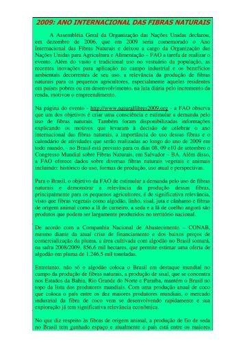 2009: ANO INTERNACIONAL DAS FIBRAS NATURAIS