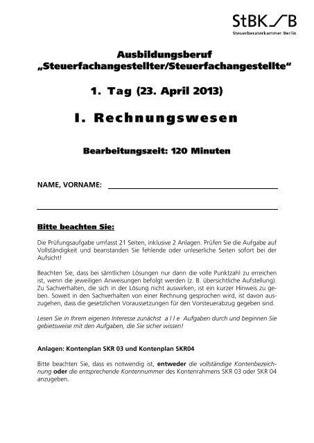 I Rechnungswesen Steuerberaterkammer Berlin