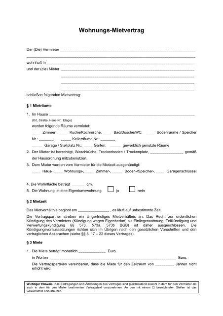 Wohnungs Mietvertrag