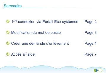 Documentation connexion nouveau portail - Eco-systèmes