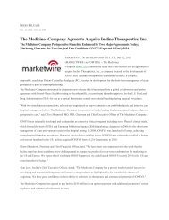 The Medicines Company Agrees to Acquire Incline Therapeutics, Inc.