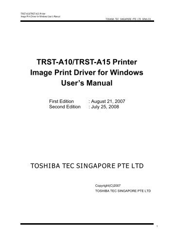 TRST-A10/TRST-A15 Printer Image Print Driver for ... - Finn-ID