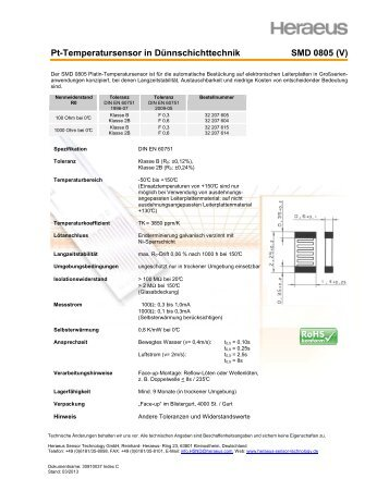 SMD 0805 - Heraeus Sensor Technology