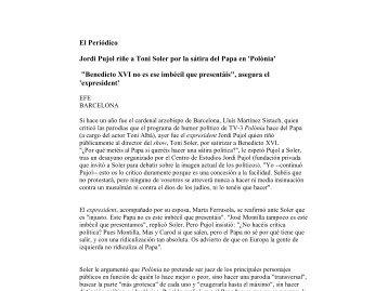 El Periódico Jordi Pujol riñe a Toni Soler por la sátira del Papa en ...