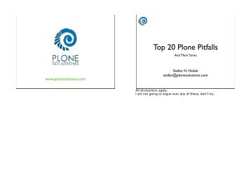 Top 20 Plone Pitfalls - and How to Avoid Them