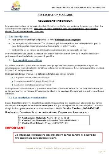 REGLEMENT DE LA RESTAURATION ... - Mairie de Lorgues