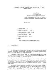 Estudos Universitários: Índice v.1 - Fundação Joaquim Nabuco