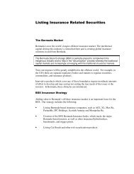 Listing Insurance Related Securities - Bermuda Stock Exchange