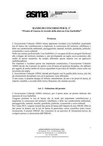 Premio di Laurea in ricordo della dott.ssa Lisa Garbellini - Ersaf
