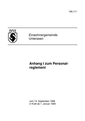 Personalreglement Anhang I 2009 - Unterseen