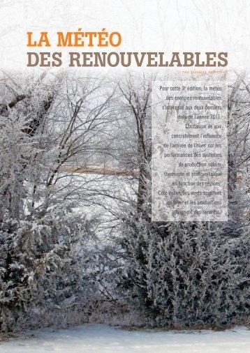 LA MÉTÉO DES RENOUVELABLES - Energies Renouvelables