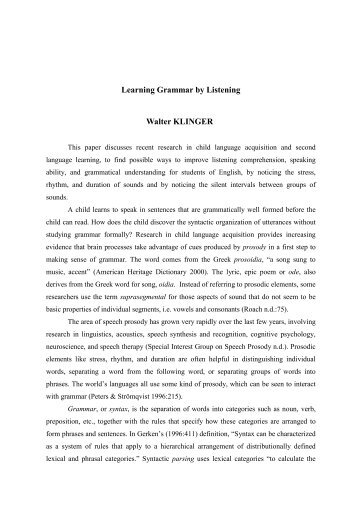 wk01 Learning Grammar by Listening