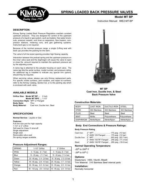 Spring loaded back pressure valves - Home | Kimray Mobile