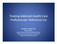Treating Addicted Health Care Professionals: Reference List - PCSS-O