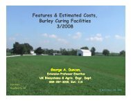 Burley Curing Facility Features and Estimated Costs